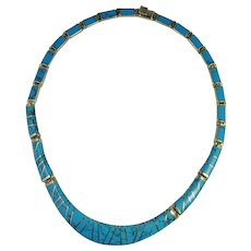 Turquoise Sterling Silver Necklace Chain Inlay Inlaid Vivid Blue Classic Timeless Gorgeous Designer Signed Hand Made Turquoise Inlay Sterling Silver Hand Made Necklace Retro Designer Signed Handmade Unique One of a Kind