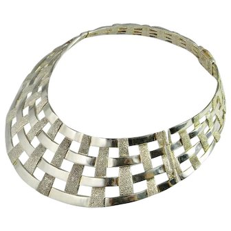 Unique Vintage Sterling Silver Collier Necklace Cage Choker Modernist Chunky Statement Collar 925 Modernist Minimalist Wide Italian Silver