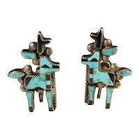 Reindeer Christmas Earrings Rare Exquisite 1940s Art Deco Era American Indian Turquoise Onyx Inlay Hand Made Deer Screw Back Designer Custom Sterling Silver Earrings Gatsby Unique Handmade Vintage