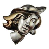 1970s Panton Era Retro Vintage Hand Made Rock Crystal Lady Face Profile Pin Brooch Fine 800 Silver Custom Designed
