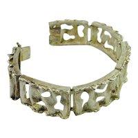 Modernist Bracelet Mid Century Jewelry 1970s Jewelry Sterling Silver Bracelet Handmade Bracelet Unique Minimalist Bracelet Retro Jewelry 925