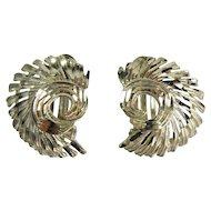 1950s Earrings Silver Earrings Clip On Earrings Ear Clips Mid Century Jewelry Swirl Earrings Modernist Earrings Fan Earrings Sterling