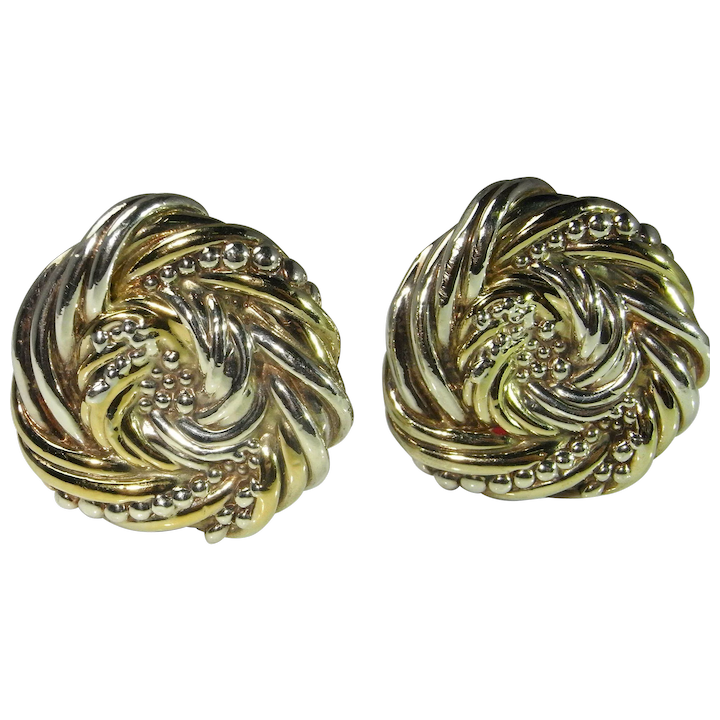 Statement Earrings Ear Clips Sterling Silver Chunky Clip On 1980s Large Huge Electroform Jewelry Modernist