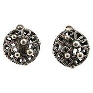 Button Earrings Artisan Earrings Geometric Earrings Modernist Earrings Mid Century Earrings Clip On Earrings Ear Clips Sterling Silver 925 Dome Studio Handmade One of a Kind 1950s 1960s 1970s