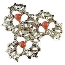 Rhodochrosite Jewelry Modernist Jewelry Unique Brooch Handmade Jewelry Mid Century Jewelry Statement Jewelry Sterling Silver Brooch Brutalist Jewelry 50s 1950s 60s 1960s 70s 1970s Space Age