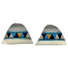 Inlay Earrings Large Hoops Large Hoop Earrings Statement Earrings Artisan Earrings Navajo Earrings Zuni Earrings Native American Earrings Sterling Silver Bohemian Ethnic Tribal Boho Studio
