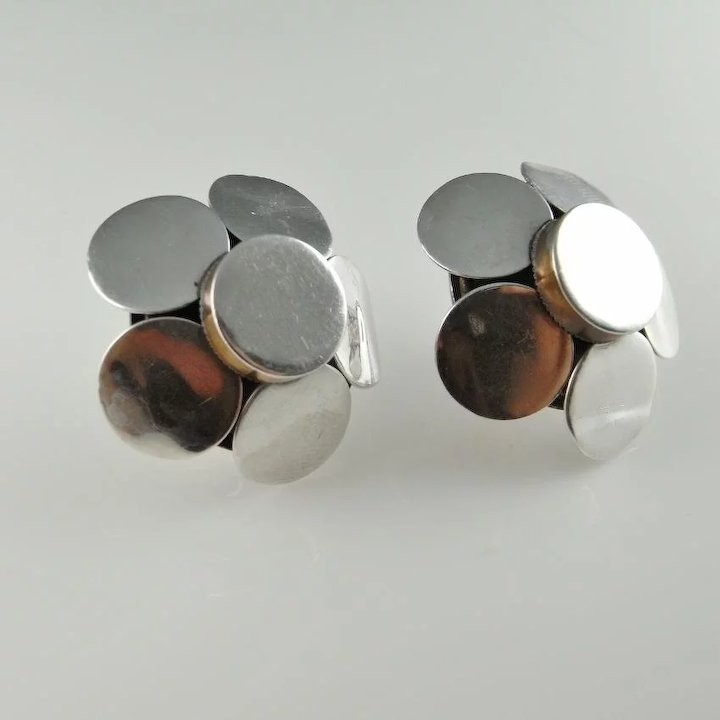 mexico vintage earrings pin carlos taxco marked modernist sterling silver