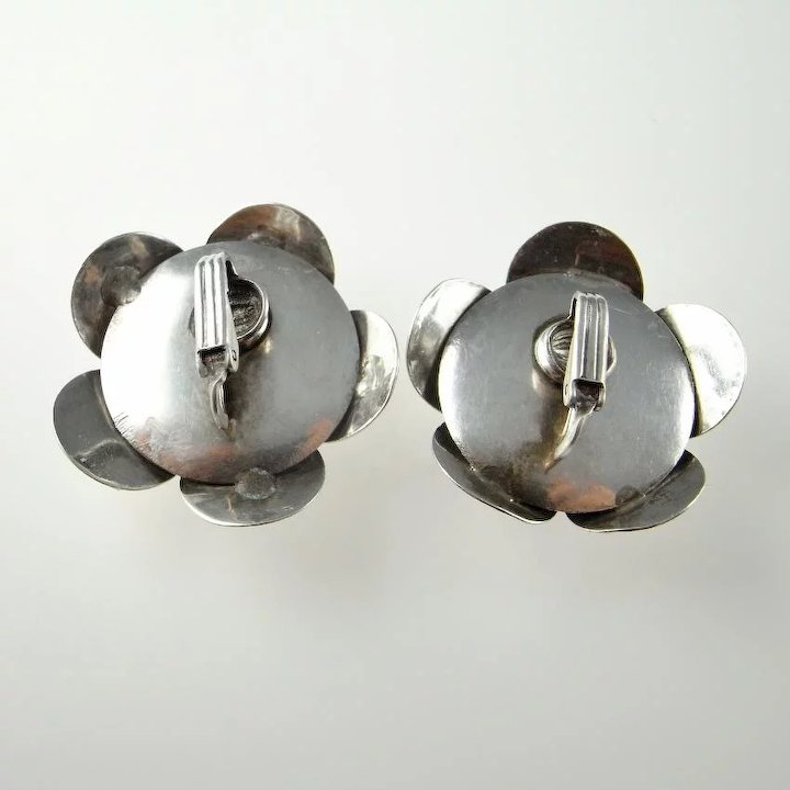 modernist forged pin earrings bronze gold kinetic vintage