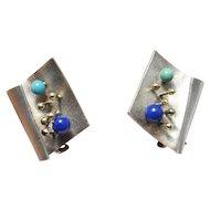 Brutalist Earrings Brutalist Jewelry Modernist Earrings Clip On Earrings ear Clips Sterling Silver Earrings Space Earrings Turquoise Lapis Geometric Space Mid Century Star Trek Artisan Studio Designer 1970s 1960s Dainty