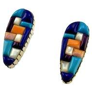 Cobblestone Inlay Earrings Old Pawn Turquoise Earrings Old Pawn Jewelry Native American Earrings American Indian Earrings Tear Drop Earrings Multistone Lapis Lazuli Sugilite Multigem Artisan Boho Tear Drop