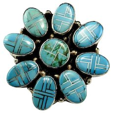 Huge Natural Turquoise Inlay Ring Sterling Silver Native American Indian Old Pawn Jewelry Daisy Flower Statement Ring Chunky Ring