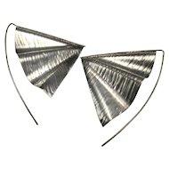 Wing Earrings Gothic Earrings Gothic Jewelry Modernist Earrings Modernist Jewelry Artisan Earrings Statement Earrings Triangle Earrings 925 Studio Custom Drop dangle Chandelier Geometric Space Age