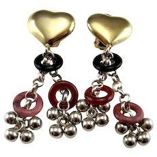 Tassel Earrings Fringe Earrings Drop Earrings Italian Jewelry 80s Jewelry Statement Earrings Heart Earrings Heart Jewelry Clip On Earrings Onyx Carnelian Rhodonite Colorful Cocktail Earrings Ear Clips Vintage