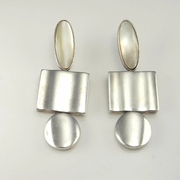pin vintage mexico modernist silver carlos marked taxco earrings sterling