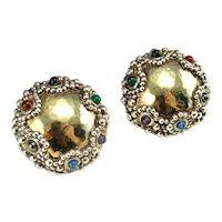 1980s Earrings 80s Jewelry Electroform Jewelry Statement Earrings Electroformed Clip On Earrings Artisan Earrings Large Earrings Cabochon Multistone Multigem Studio Artisan