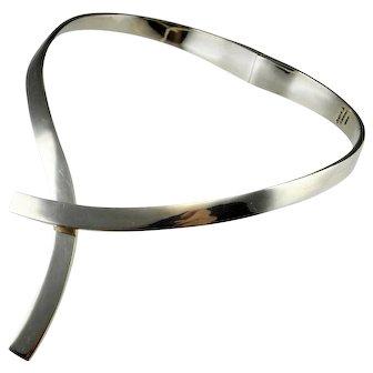 Minimalist Necklace Silver Silver Collar Necklace Silver Choker Necklace 80s Jewelry Geometric Necklace Space Necklace Retro Necklace 925 Artisan Studio