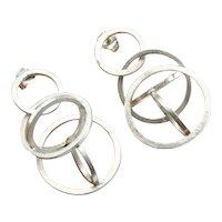 Circle Earrings Geometric Earrings Modernist Earrings Artisan Earrings Mid Century Earrings Space Earrings Star Trek Earrings Minimalist 925