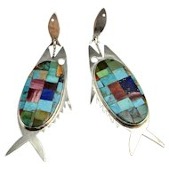 Fish Earrings Drop Earrings Artisan Earrings Southwestern Earrings Southwestern Jewelry Fish Jewelry Dangle Earrings Chandelier Earrings 925 Boho Bohemian 1970s Vintage