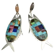 Fish Inlay Native American Indian Southwestern Turquoise Lapis Sterling Silver Drop Chandelier Earrings