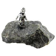 Modernist Sculpture Sterling Silver Sculpture Paper Weight Desk Ornament Sterling Silver Miniature Miniatures Rock Cliber Rock Climbing 925