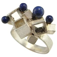 Lapis Lazuli Abstract Cube Sphere Cluster Mosternist Silver Ring