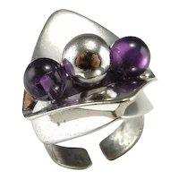 Amethyst Ring Modernist Ring Artisan Ring Boho Ring Bohemian Ring 1970s Jewelry 1960s Jewelry Geometric Ring Space Ring Star Trek Ring 925 Unisex 60s 70s Retro Statement Chunky Adjustable Shank Sterling Silver Artisan Jewelry