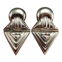 Triangle Earrings Triangle Jewelry Space Earrings Space Jewelry Geometric Earrings Clip on Earrings Ear Clips Modernist Earrings 925 Silver 80s 1980 Statement