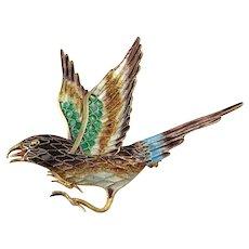 Bird Brooch Bird Pin Bird Jewelry Enamel Brooch Filigree Jewelry Vintage Silver Brooch Dainty jewelry Animal Brooch Pin Jewelry Artisan Sparrow Jewelry 1940s 1950s Artisan Delicate Pretty