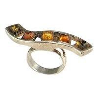 SUGARLOAF Cab Cabochon Amber Ring Sterling Silver Natural Amber Ring Green Honey Amber Ring Jewelry Baltic Amber Ring Artisan Ring Big 925