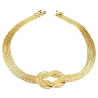 Love Knot Necklace Anniversary Marriage Bridal Wedding Multistrand Gold Plated 925 Sterling Silver Necklace Minimalist Ancient Style Renaissance Style Medieval Style