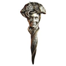 Face Masquerade Large Brooches Sterling Silver Bonnet Electroformed Jewelry Chunky Statement Jewelry Dagger Pin Victorian Style Big Boho 925 Edwardian Style Steam Punk Surrealist Bohemian