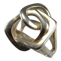 Unisex Ring Signet Ring Love Knot Ring Modernist Ring Space Ring Artisan Jewelry Boho Rings Statement Ring Star Trek Jewelry Sterling Silver Mid Century Geometric 1950s 1960s 1970s Jewelry