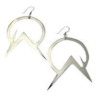 Star Trek Earrings Modernist Jewelry Big Silver Earrings Sterling Silver 925 1980s Modernist Geometric Space Age Jewelry Large Statement