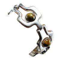 Tigers Eye Bracelet Jewelry 835 Silver Jewelry European Modernist Bracelet Jewelry Artisan Bracelet Unisex Bracelet Jewelry Space Retro
