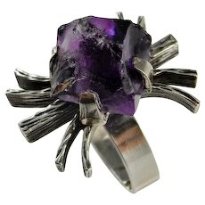 Unisex Raw Amethyst Crystal Ring Modernist Mid Century 1950s 1960s 1970s Jewelry Space Star Trek Sterling Silver Artisan One of a Kind Rings Bohemian Boho Mens Ladies Brutalist Jewelry