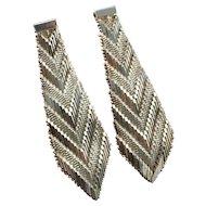 Mesh Earrings Sterling Silver Drop Dangle Statement Earrings Modernist Earrings Space Earrings 1980s 80s Earrings Woven Earrings Dangle Chevron Boho Bohemian Chandelier Geometric