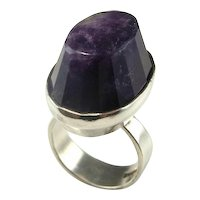 Amethyst Crystal Pyamid Ring Modernist Ring Sweden Swedish Designer Jewelry Space Ring 1960s Ring Mid Century Unisex Ring Sterling Silver Mid Century Statement Signet Unisex Mens Ladies Geometric Jewelry Star Trek Minimalist