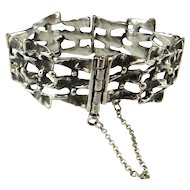 Unisex Silver Bracelet Brutalist Jewelry Silver Mid Century Bracelet Modernist Bracelet Space Jewelry Mens Silver Bracelet Boho Bohemian 1970s Space Star Trek Mens Ladies Unique Artisan Chunky Rustic One of a Kind