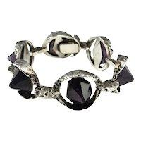 Amethyst Pyramid Bracelet Amethyst Crystal Point Bracelet Brutalist Bracelet Silver Bracelet 1970s Jewelry Modernist Space Bracelet Retro 1960s 1960s 1970s Mid Century Star Trek Boho