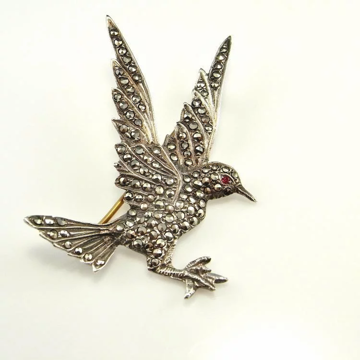Jewelry & Watches Glorious Vintage Art Deco Marcasite Brooch Pin