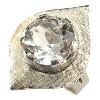 Quartz Ring Rock Crystal Ring Quartz Jewelry Rock Crystal Jewelry Leaf Ring Modernist Ring Space Ring Mid Century Ring Star Trek Ring Silver Geometric Artisan Boho Bohemian Signet Solitaire Unisex