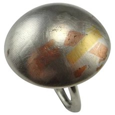 Mixed Metal Vintage Silver Dome Ring