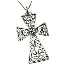 Silver Cross Necklace Silver Cross Pendant Women Men Unisex Filigree Cross Filigree Crucifix Scandinavian Cross Mid Century Necklace Unique