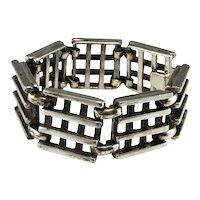 Artisan Sterling Silver Link Bracelet Modernist Silver Bracelet Unisex Bracelet One of a Kind Unique Bracelet Mid Century Bracelet Space Age Unisex Mens Jewelry Minimalist