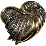 Puffy Heart Pendant Vermeil Sterling Silver 925 Love Heart Brooch Pin Pendant Chunky Heart Pendant Artisan Vintage Melting Heart Jewelry
