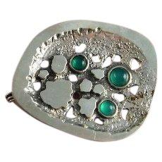 Chrysoprase Brooch Green Cabochon Brooch Pin Modernist Brooch Pin Jewelry Mid Century Geometric Organic Brooch Pin Silver Pin Artisan Brooch Unisex Artisan