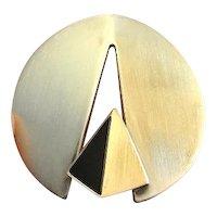 OBSIDIAN 1970s Artisan Modernist Pendant Circle Pendant Geometric Pendant 835 Silver Pendant Mid Century Pendant Space Pendant Unisex Unique