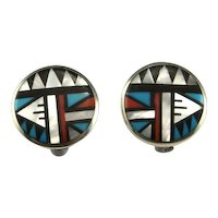 Geometric Inlay Native American Indian Old Pawn Earrings Clip On American Indian Earrings Sterling Silver Clip Earrings Circle Earrings 925
