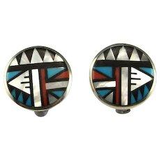 Geometric Inlay Native American Indian Old Pawn Earrings Clip On American Indian Earrings Sterling Silver Clip Earrings Circle Earrings 925