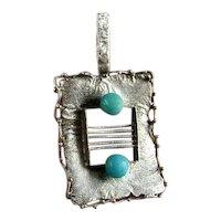 Amazonite Pendant Sterling Silver Pendant Sphere Pendant Rectangular Modernist Geometric Pendant Unisex Retro Space Age Jewelry 1960s 1970s